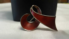 Beautiful 925 Sterling Silver Norway Red Enamel Ribbon Brooch Pin Ivar Holth