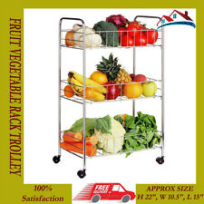 NEW CHROME 3 TIER FRUIT VEGETABLE RACK MULTIPURPOSE STORAGE KITCHEN CART TROLLEY