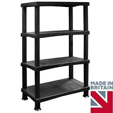 X Large 4 Tier Storage Shelves Unit Racks Strong Plastic Trend Room Garage BLACK