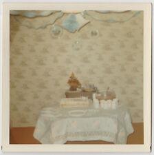 Square Vintage 70s PHOTO Shower Party Cake & Punch Bowl On Table