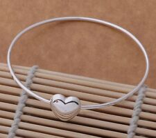 925 silver Karma Love friend Heart Bangle Bracelet cuff women men gift