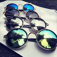 Fashion Steampunk Hippie Vintage Retro UV400 Mirror Lens Circle Round Sunglasses