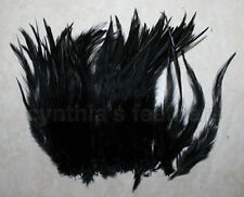 """100+ Black 5-7"""" saddle COQUE rooster Feathers for crafting, wedding, millinery.."""