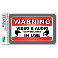 Warning Video And Audio Surveillance In Use MAG-NEATO'S™ Vinyl Magnet Sign
