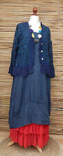 LAGENLOOK LINEN/COTTON BOHO 2 PCS DRESS+LACE JACKET*NAVY BLUE*SIZE L-XL