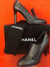16A NIB CHANEL NAVY LEATHER CC LOGO BELTED BUCKLE  PLATFORM LOAFERS PUMPS 37.5