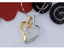 """18"""" Chain Sterling Silver Heart Love Cubic Zirconia Pendant Necklace Gift Box A7"""