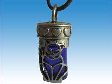 Cat Keepsake Urn Pendant Necklace With Velvet Pouch Cobalt Blue Pet Memorial
