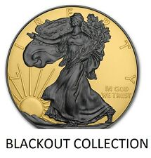 1 OZ AMERICAN SILVER EAGLE COIN BLACK RUTHENIUM-24KT REVERSE BLACKOUT COLLECTION