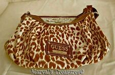 Authentic Guess Zoo Cognac Women's Hobo Shoulder Bag Leopard Print