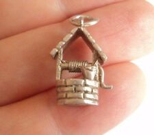 Vintage STERLING SILVER CHARM Traditional WISHING WELL Water 3.43g