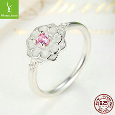 Authentic 925 Sterling Silver Pink Blooming Dahlia Ring For Women Size 8