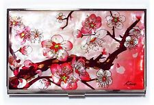 Pink Business Credit Card holder metal ID case apricot flowers mother of pearl