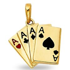 Solid 14k Yellow Gold Four Aces Pendant Poker Four Of A Kind Charm Playing Cards