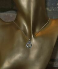 Sterling Silver Necklace With Flower And Ring Cubic Zirconia Pendant