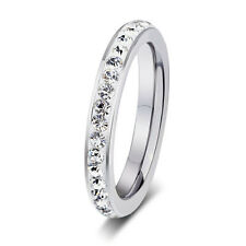 3MM Stainless Steel Ring White CZ Inlay Princess Wedding Charms Bridal SZ 6-11
