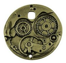 2 x Antique Bronze Watch Clock Charms Steampunk - Large - 37mm x 37mm TS178