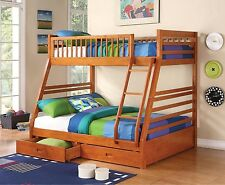 OAK FINISH TWIN / FULL YOUTH BUNK BED & STORAGE DRAWER BEDROOM FURNITURE