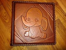 Photo Album - Elephant Personalised Kids Handmade Art Leather Gift Cover #16