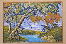 """Painting Picture DIPINTO Tempera su Carta Pino SANTINI 1950 """"Paesaggio Palustre"""""""