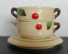 MARUHON WARE Sugar & Creamer Stacked including Plate-Hand Painted Made in JAPAN