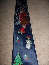 gents Christmas fun silk hand made tie blue with santa, snowmen etc