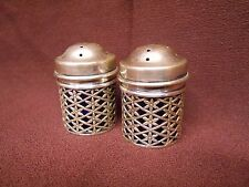 800 Silver Cobalt Blue Glass Salt Pepper Shakers Lattice Flower