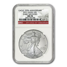 2011 Silver American Eagle Coin - MS-70 ER NGC - 25th Anniversary Red Label