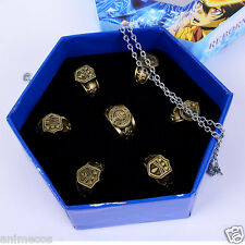 Katekyo Hitman Reborn Vongola Hibari Kyoya  Ring + Necklace 7pcs Set New in Box