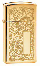 "Zippo ""Venetian Design"" High Polish Brass Slim Size Lighter, 2-Sided, 1652B"