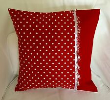 UNIQUE DARK RED & WHITE SPOTTY SHABBY CHIC FABRIC CUSHION COVER WITH BEAD TRIM
