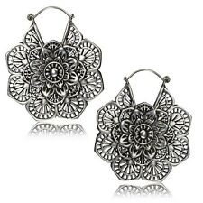 PAIR 18g MANDALA FLOWER 2 INCH POLISHED WHITE BRASS SILVER PLUGS EARRINGS GAUGES