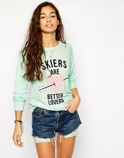 NWT $88 Wildfox Couture SKIERS ARE BETTER LOVERS THERMAL LONG SLEEVE SZ S