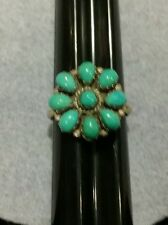 Vintage Sterling Turquoise Ring Zuni Petit Point Cluster Flower Signed Eriacho