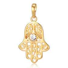 Womens Fatima Hand Protection Pendant Crystal Fit Necklace Gold filled Fashion