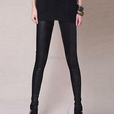 Women's Ladies Black Faux Leather Snake Skins Pattern Stretchy Legging Pants New