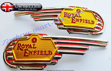 NEW ROYAL ENFIELD BULLET MOTORCYCLE PETROL FUEL TANK LOGO DECALS BADGE PAIR@ UK