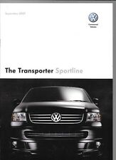 Vw Volkswagen Transporter Sportline Van Truck Sales folleto Sept. 2007 a 2008