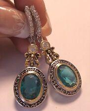 Stunning Appatite     White Topaz lever back   dangle  earrings  925 silver