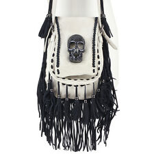 Thomas Wylde Cream Leather Black Crystal Skull Tasseled Shoulder Bag Handbag