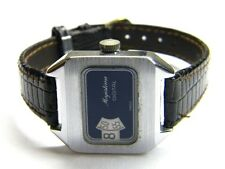mens ladies unisex Majestime Jump Hour digital blue face swiss made dress watch