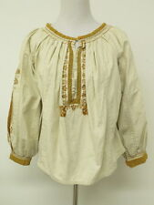 Isabel Marant Etoile Top Crochet Lace Trimmed Embroidered Peasant Natural Size 2