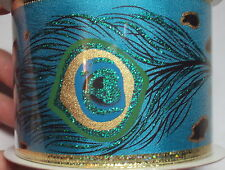Christmas Wired Ribbon Peacock Feathers Blue Gold Glitter 30 ft, NEW