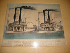 THE GREAT MISSISSIPPI STREAMBOAT RACE 1870 CURRIER AND IVES ORIGINAL
