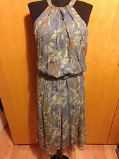 Blue/Green Floral Silk Dress by Betty Jackson Black size 12