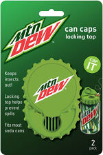 MOUNTAIN DEW CAN FLIP TOP 2 PACK  SODA POP BEER LID BEE/INSECT PROOF by Jokari