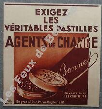 Publicité Pastilles Agents de change Bonnet confiseur   1933