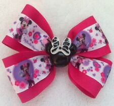 "Girls Hair Bow 4"" Wide Minnie Mouse Ribbon Black Minnie Flatback French Barrette"