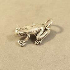 .925 Sterling Silver 3-D Detail  FROG/TOAD CHARM NEW Pendant Bullfrog 925 NT114