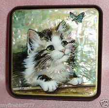 Russian Handpainted Lacquer Box Kitten with butterfly Fedoskino miniature